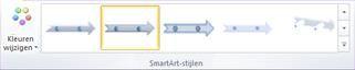 De groep SmartArt-stijlen op het tabblad Ontwerpen onder Hulpmiddelen voor SmartArt