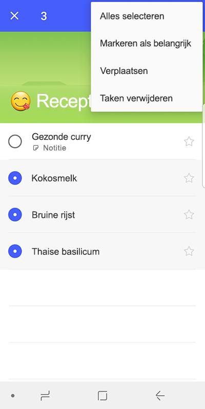 Schermafbeelding van de optie voor taken verplaatsen op android-apparaat