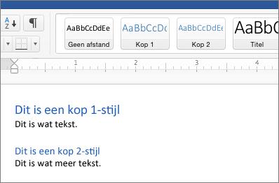 Voorbeelden van de stijlen Kop1 en Kop2 in een document