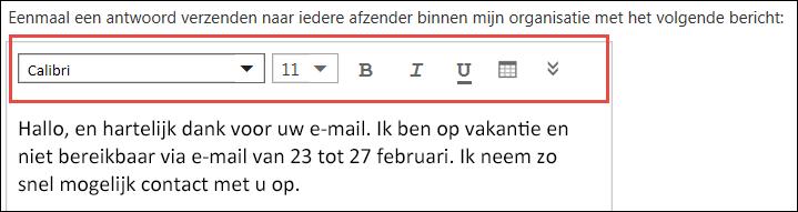 Bericht met automatisch antwoord in de webversie van Outlook