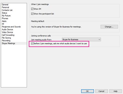 Dialoogvenster met vergaderingsopties van Skype met selectievakje Vraag me welk audioapparaat ik wil gebruiken gemarkeerd.