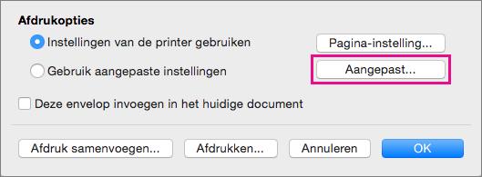 Klik op Aangepast om andere envelopformaten en -indelingen te definiëren dan door uw printer worden aangeboden.
