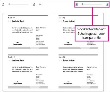 Schuifregelaar voor afdrukvoorbeeld voor het bekijken van de voor- en achterzijde van de publicatie, zodat u kunt bekijken of deze juist zijn uitgelijnd.