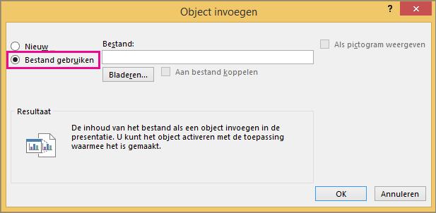 Bestand gebruiken in het dialoogvenster Object invoegen