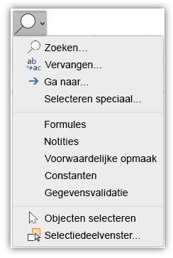 Schermafbeelding met het menu Zoeken & selecteren dat is toegevoegd aan het tabblad Start van het lint.