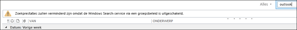 Windows Desktop Search uitgeschakeld