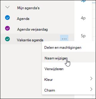 Een schermafbeelding van het contextmenu van de agenda met Hernoemen geselecteerd