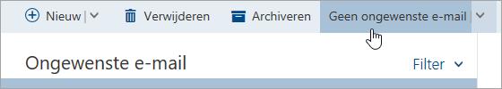 Schermafbeelding van de knop Geen ongewenste e-mail