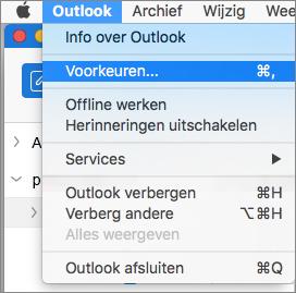 Outlook-menu met Voorkeuren gemarkeerd