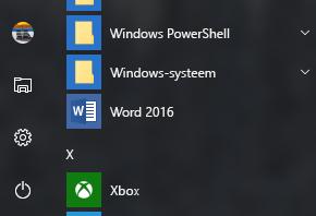 Voorbeeld van de snelkoppeling van Word 2016 die ontbreekt in de Office-snelkoppelingen