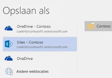 Een document in OneDrive voor Bedrijven opslaan in een bibliotheek op de teamsite