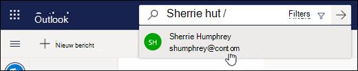 Een schermafbeelding van de zoekbalk
