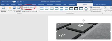 De knop Afbeeldingen comprimeren in de groep Aanpassen op het tabblad Opmaak van Hulpmiddelen voor afbeeldingen