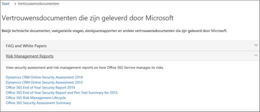 Toont de pagina Servicecontrole: Documenten vertrouwen die door Microsoft worden verstrekt