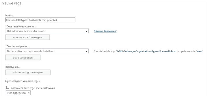 Schermafbeelding: Een nieuwe regel voor Postvak IN met prioriteit maken en opslaan
