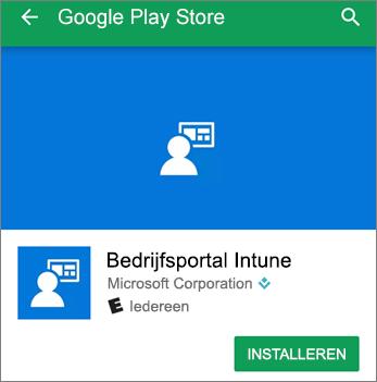 Schermafbeelding van de knop Installeren voor Intune Company Portal in Google Play Store