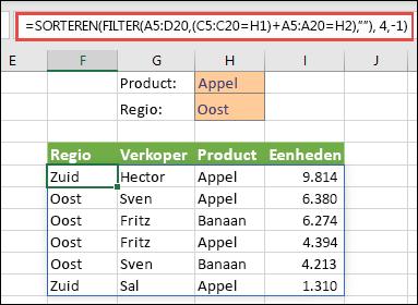 FILTER en SORTEREN samen - filteren op Product (Apple) of de regio (Oost)