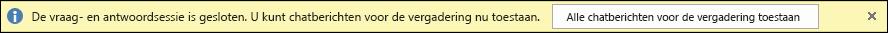 schermafbeelding van de melding over het sluiten van q&a