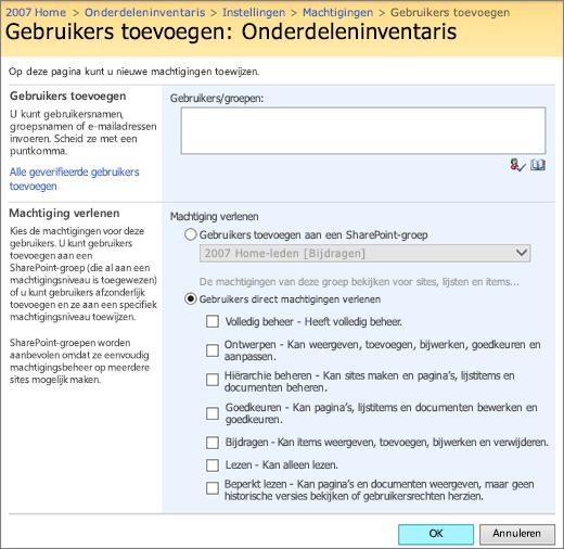 Dialoogvenster Gebruiker toevoegen