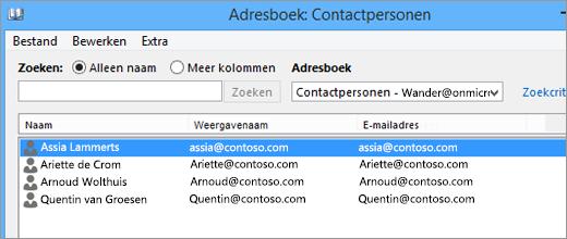 Als de contactpersonen van Google Gmail in Office 365 zijn geïmporteerd, ziet u ze in het Adresboek staan: Contactpersonen