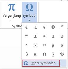 Klik in het vak Symbool op Meer symbolen