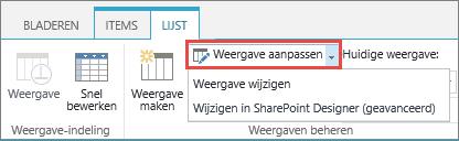 Knop Weergave wijzigen, met geopende vervolgkeuzelijst
