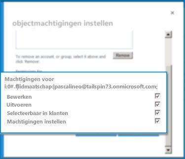Screenshot van het venster Machtigingen voor SetObject in SharePoint Online. In dit venster kunt u machtigingen voor een opgegeven extern inhoudstype instellen.