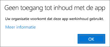 Een dialoogvenster met de melding dat de app geen toegang heeft tot inhoud bij plakken in een onbeheerde app.