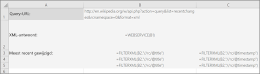 Een voorbeeld van de functie XML.FILTEREN