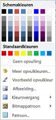 Opties voor de opvulling van WordArt-vormen in Publisher 2010