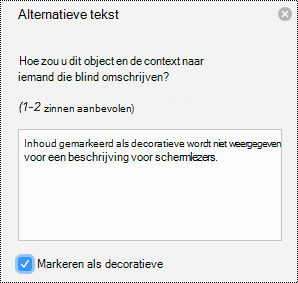 Alternatieve tekst decoratieve afbeelding in PowerPoint voor Mac in Office 365.