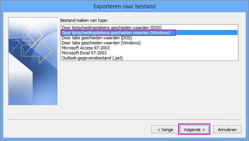 Kies Door komma's gescheiden waarden (Windows)