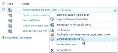Vervolgkeuzelijst voor een SharePoint-bestand. Versiegeschiedenis is geselecteerd.