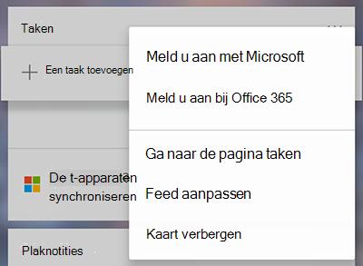 Schermafbeelding van de optie aan te melden met Microsoft of Office 365 in de meer taken kaart menu meer