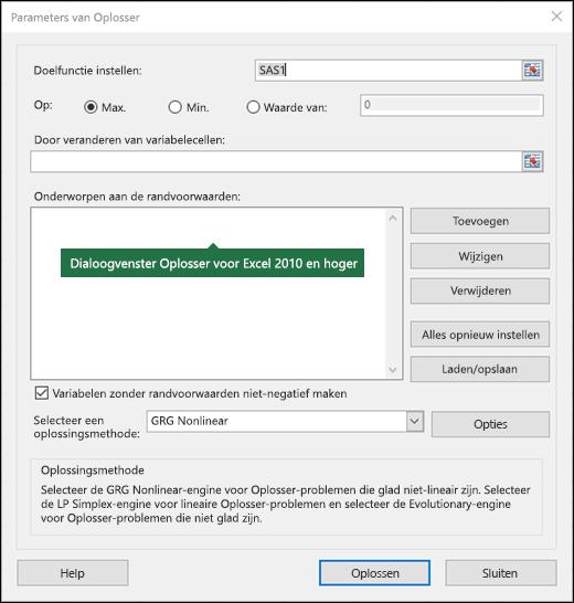 Afbeelding van het dialoogvenster Oplosser in Excel 2010+