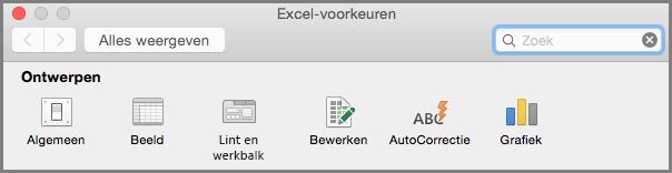 Office 2016 voor Mac, werkbalkvoorkeuren lint