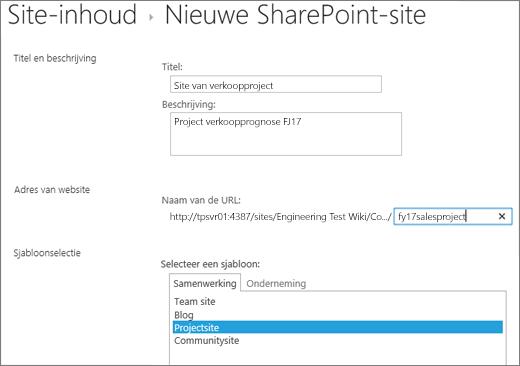 SharePoint 2016-scherm voor het maken van subsites