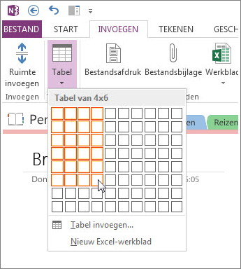 Voeg een tabel in OneNote in.