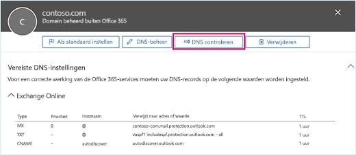 Schermafbeelding van de pagina Vereiste DNS-instellingen met de focus op de knop DNS controleren.