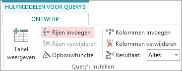 Knop Rijen invoegen op het tabblad Ontwerp van de hulpmiddelen voor query's