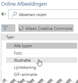 Selecteer de knop Filter en kies Illustraties