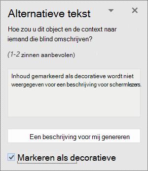 Deelvenster Alternatieve tekst met de optie Markeren als decoratief geselecteerd in Word voor Windows.
