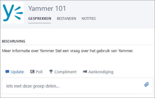 Voorbeeld van een Yammer 101-groep