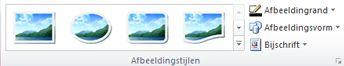 De groep afbeeldingstijlen op het tabblad Hulpmiddelen voor afbeeldingen in Publisher 2010