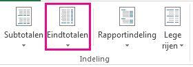 knop eindtotalen op het tabblad ontwerpen