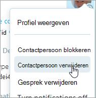 Een schermafbeelding van de optie Verwijderen contactpersonen in het snelmenu van Skype contactpersonen