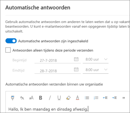 Een afwezigheidsbericht maken in de webversie van Outlook