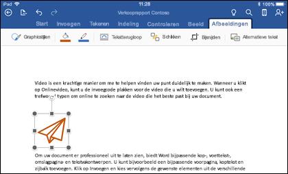 Word voor iOS met het tabblad grafisch bewerken