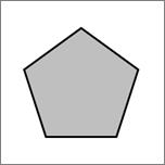 Geeft een vijfhoekige vorm weer.