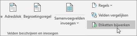 Kies Etiketten bijwerken in de sectie Velden beschrijven en invoegen op het tabblad Verzendlijsten.